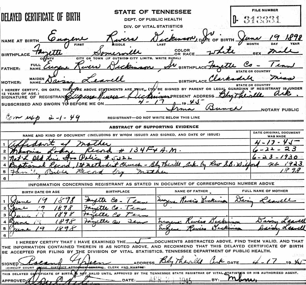 This delayed birth certificate lists other documents that validate the information here.
