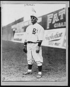 Brooklyn Dodgers outfielder Casey Stengel wearing sunglasses, circa 1915.