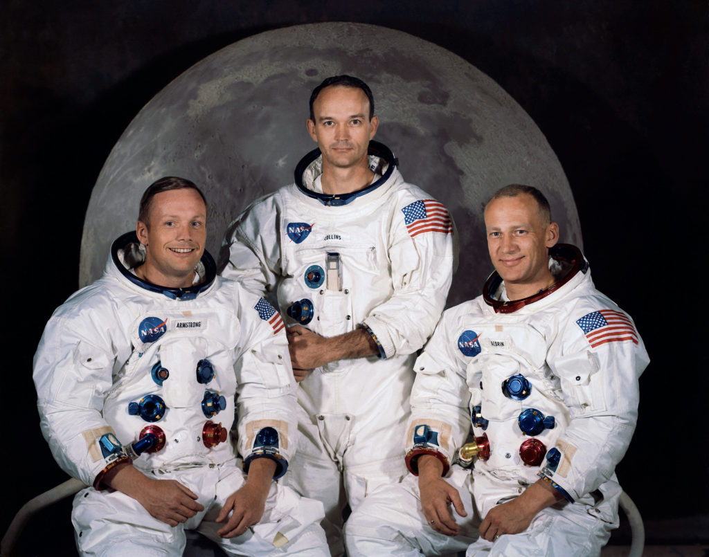 The crew of Apollo 11, featured in this timeline of the Moon.