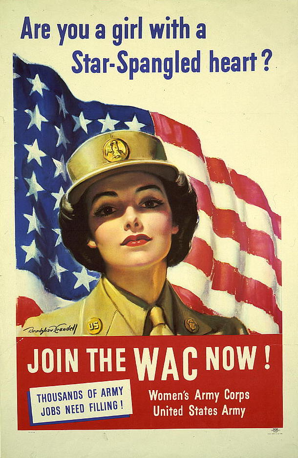 WWII Women's Army Corps recruitment poster, an example of women in wartime.