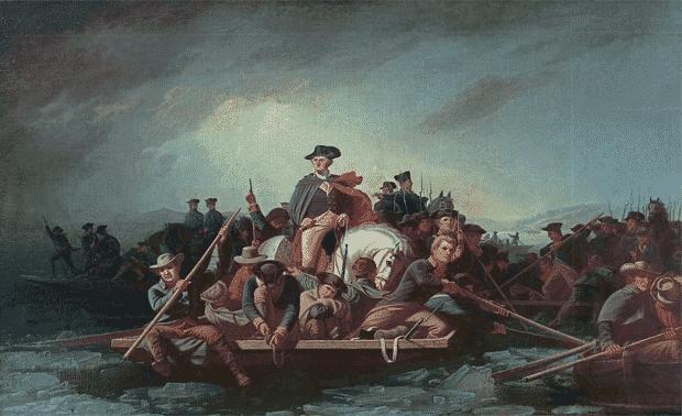 """Washington Crossing the Delaware"" painting."