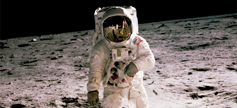 An astronaut on the Moon, a feature of this timeline of the Moon.