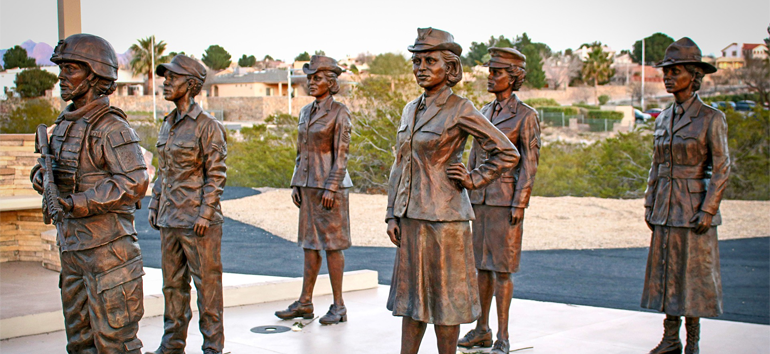 Statues of women in wartime and their various roles.