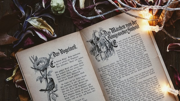 Open book, surrounded by lights and flowers, written in old German script.