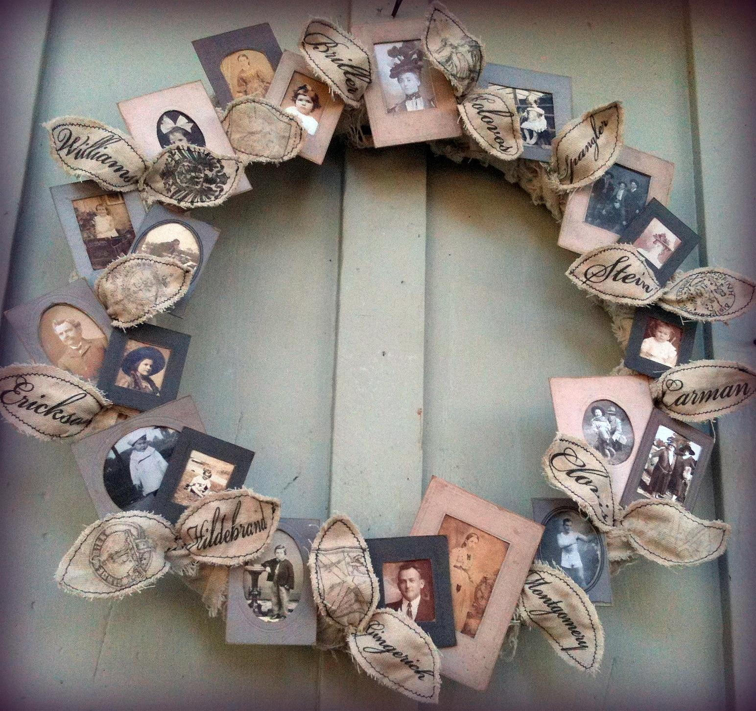 family tree photo wreath