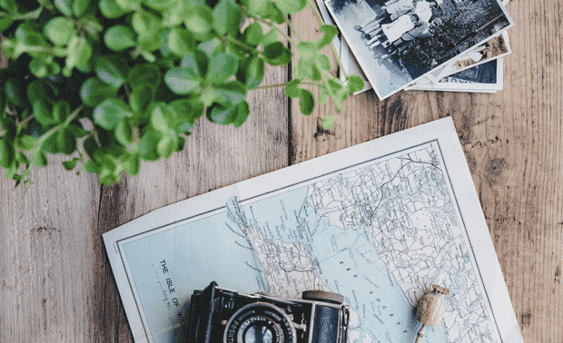 Old photos with a map and a vintage camera.
