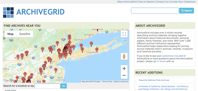 Home page of ArchiveGrid, an unexpected website you can use for genealogy.