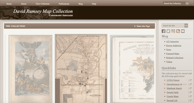 Home page of the David Rumsey Map Collection, an unexpected website you can use for genealogy.