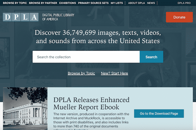 Home page of the Digital Public Library of America, an unexpected website you can use for genealogy.