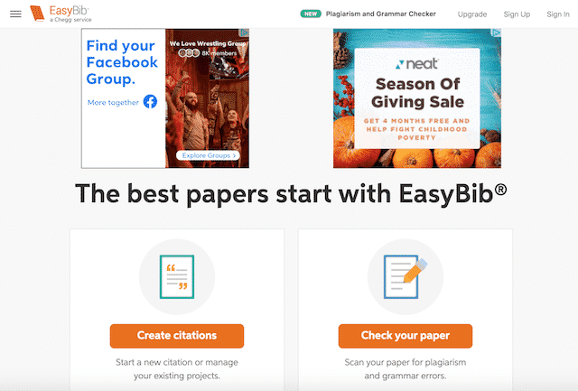 Home page of EasyBib, an unexpected website you can use for genealogy.
