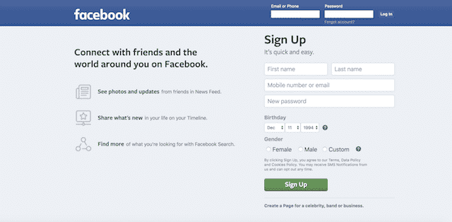 Home page of Facebook, an unexpected website you can use for genealogy.