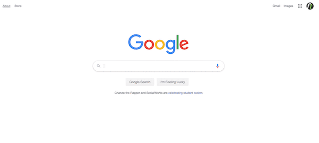 Home page of Google, an unexpected website you can use for genealogy.