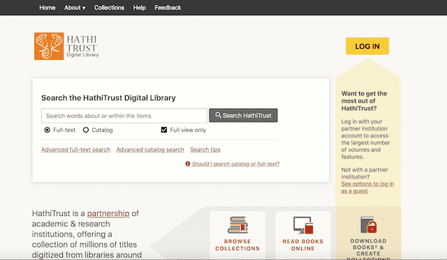 Home page of HathiTrust, an unexpected website you can use for genealogy.