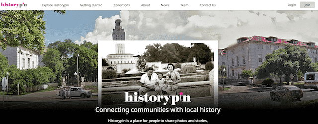 Home page of HistoryPin, an unexpected website you can use for genealogy.
