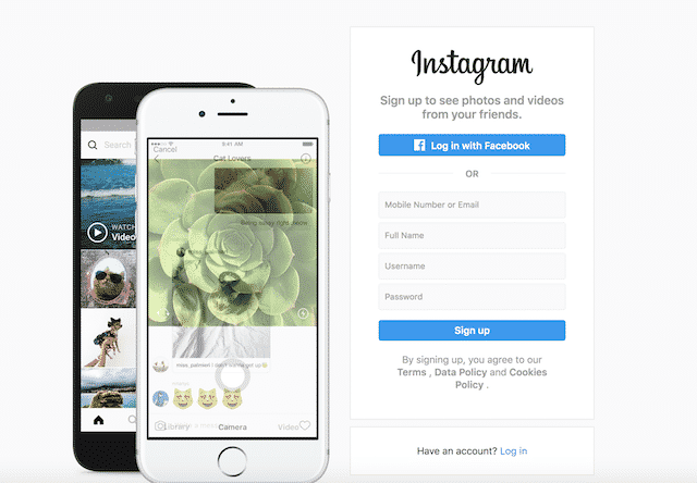 Home page of Instagram, an unexpected website you can use for genealogy.