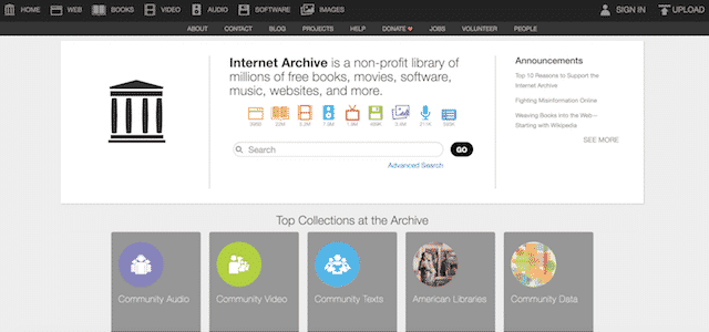 Home page of Internet Archive, an unexpected website you can use for genealogy.