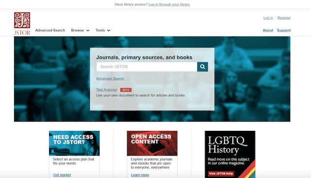 Home page of JSTOR, an unexpected website you can use for genealogy.