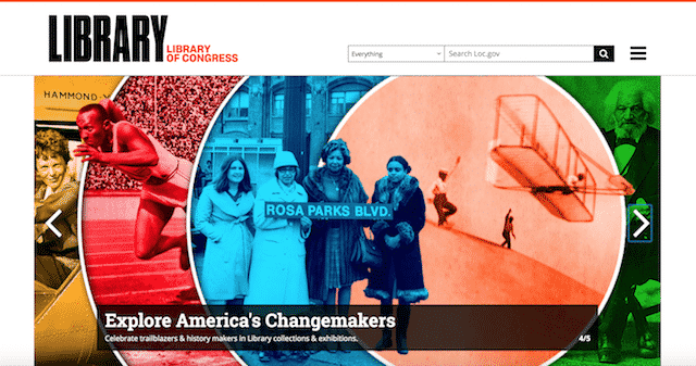 Home page of the Library of Congress, an unexpected website you can use for genealogy.