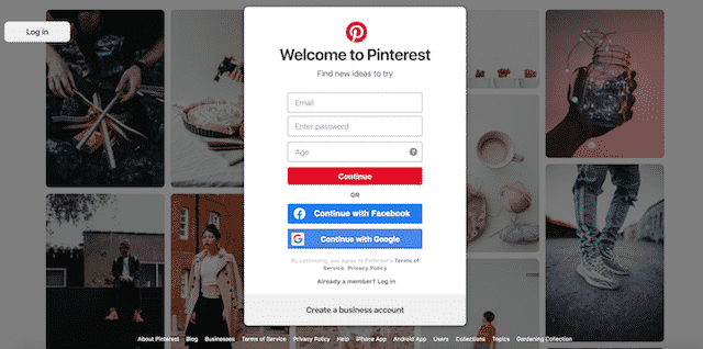 Home page of Pinterest, an unexpected website you can use for genealogy.