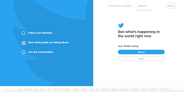 Home page of Twitter, an unexpected website you can use for genealogy.
