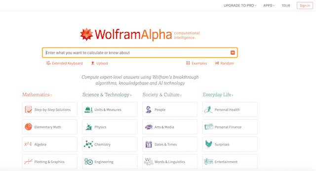 Home page of WolframAlpha, an unexpected website you can use for genealogy.