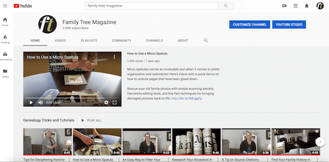 Home page of YouTube, an unexpected website you can use for genealogy.