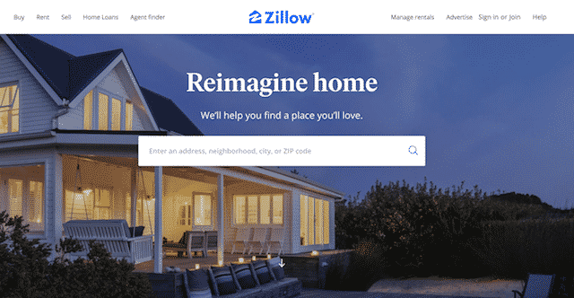 Home page of Zillow, an unexpected website you can use for genealogy.