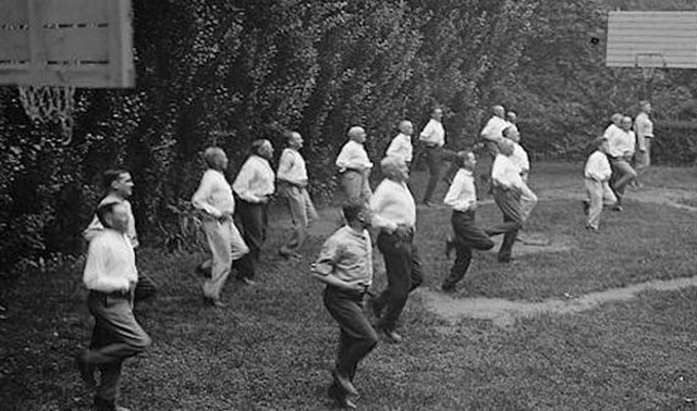 Historical photo of men exercising