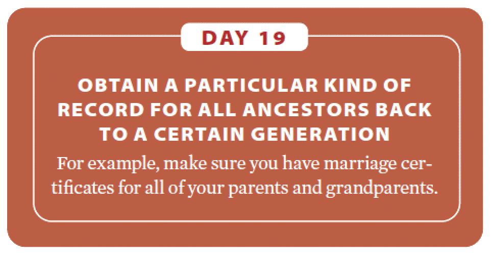 Genealogy fitness plan: Day 19.