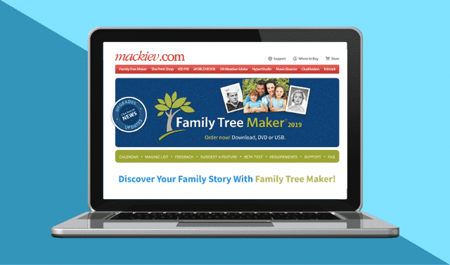 Open laptop with home page of Family Tree Maker.