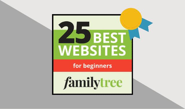 Family Tree Magazine's 25 Best Websites for Beginners logo.