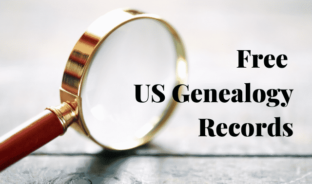 "Magnifying glass and text, ""Free US Genealogy Records."""