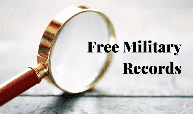 """Magnifying glass and text, """"Free Military Records."""""""