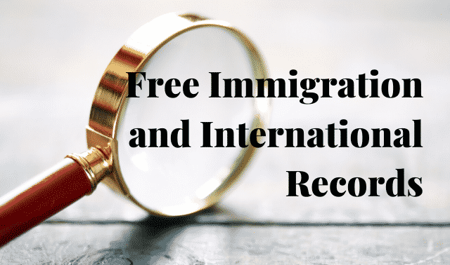 """Magnifying glass and text, """"Free Immigration and International Records."""""""