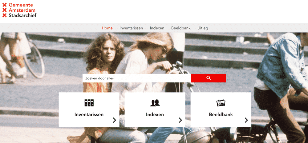 Gemeente Amsterdam Stadsarchief (Amsterdam City Archives) home page