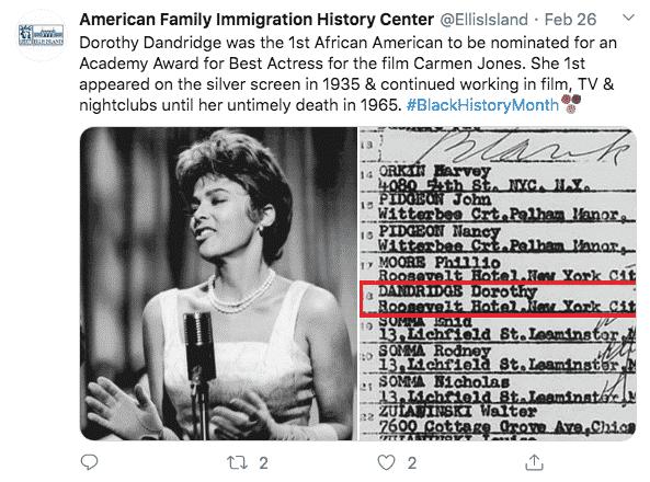 Example tweet from the @EllisIsland account.