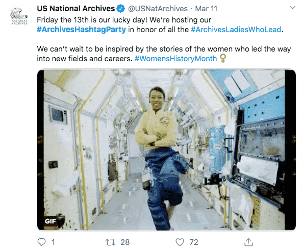 Example of a tweet from the National Archives.
