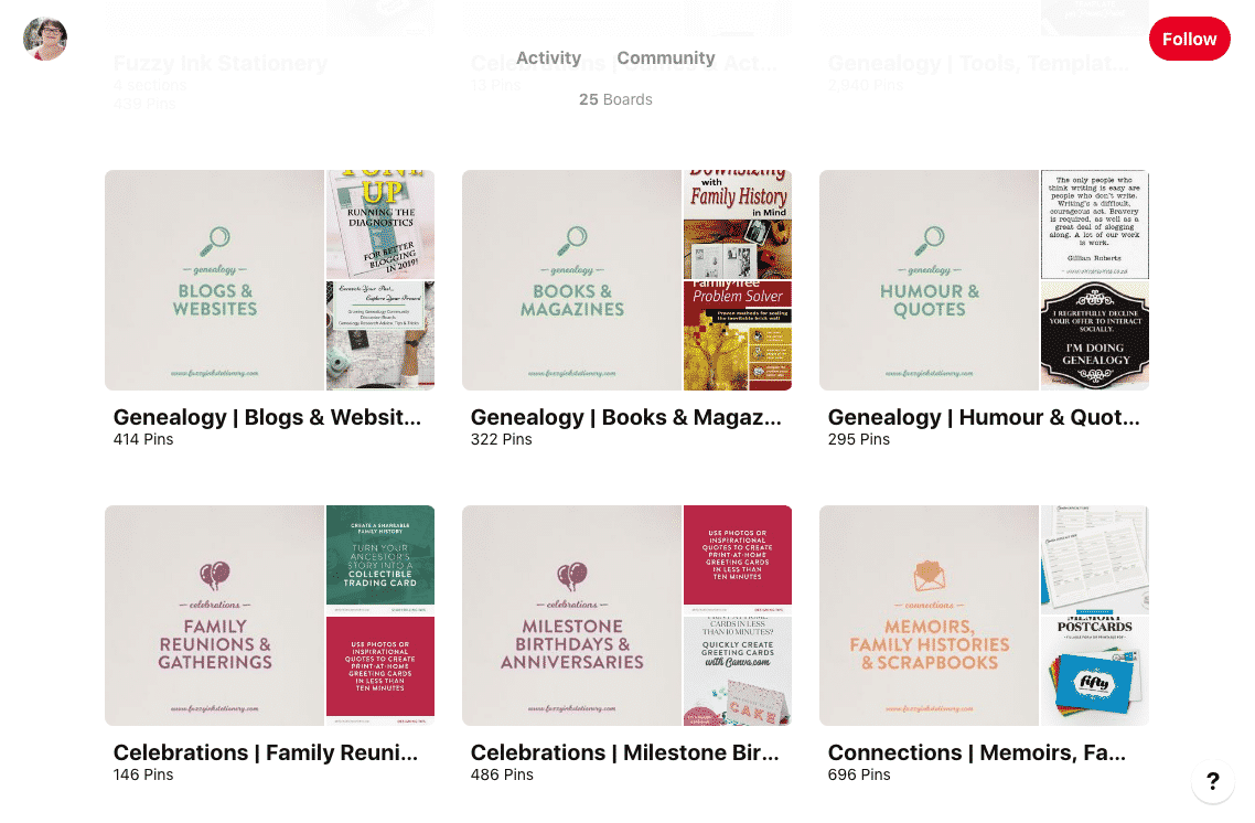 Screenshot of Fuzzy Ink Stationary's genealogy Pinterest boards.