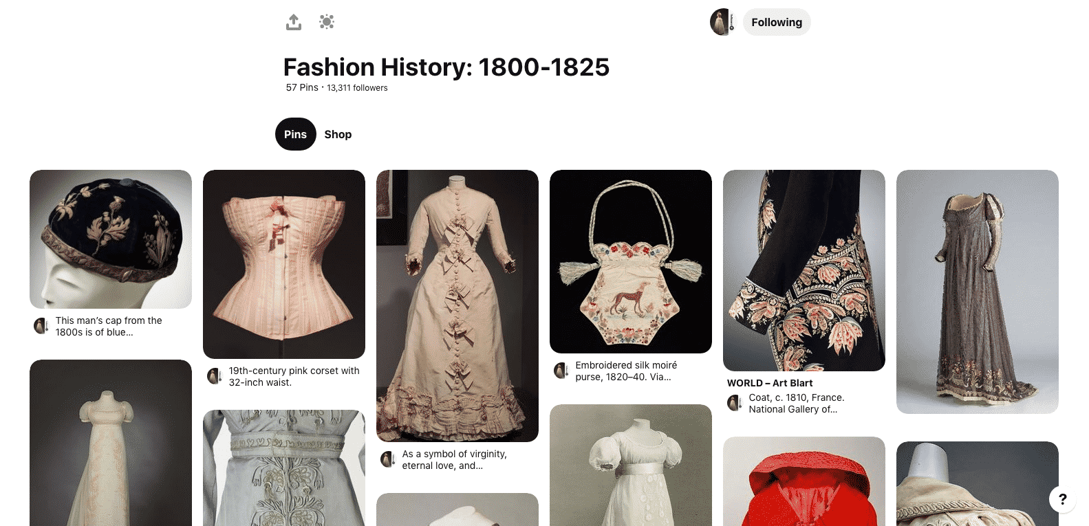Example of a Fashion History Pinterest board from the Museum at FIT.