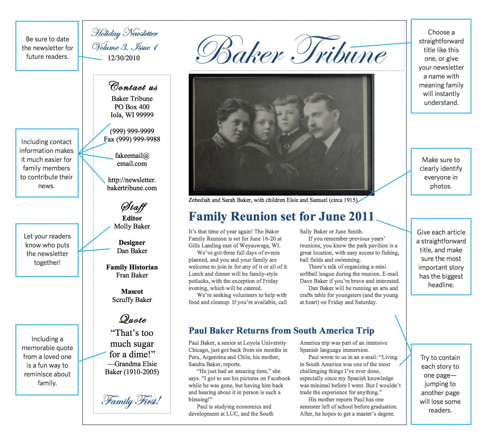 Sample family newsletter design.
