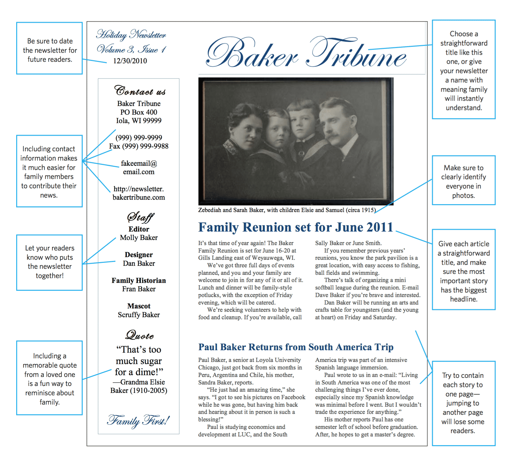 Sample family newsletter design.