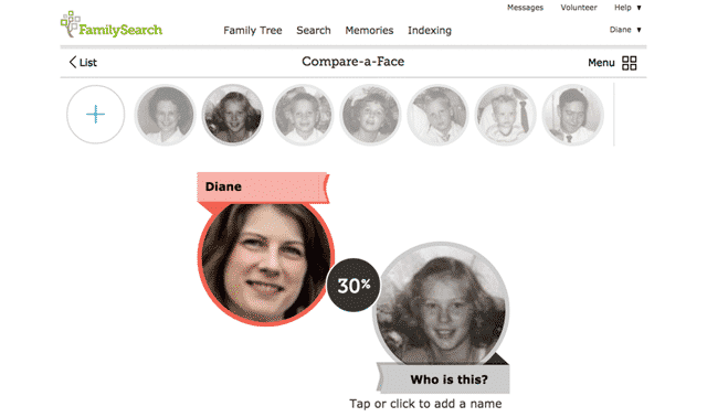 FamilySearch compare-a-face feature
