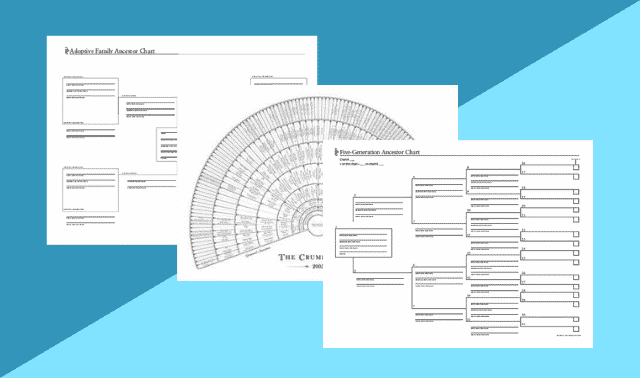 Three types of family tree charts on a blue background.