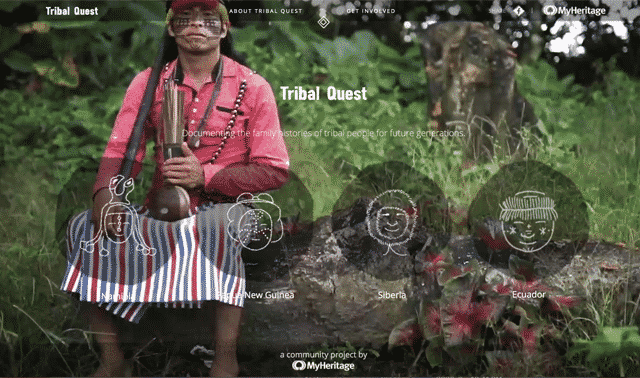 Website page of Tribal Quest, showing man sitting on log.