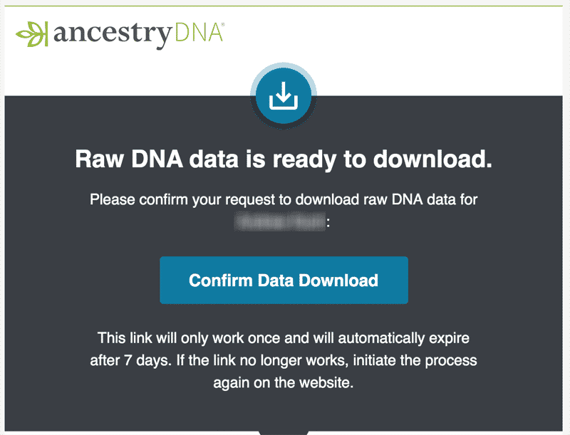 Confirmation screen for downloading raw AncestryDNA data