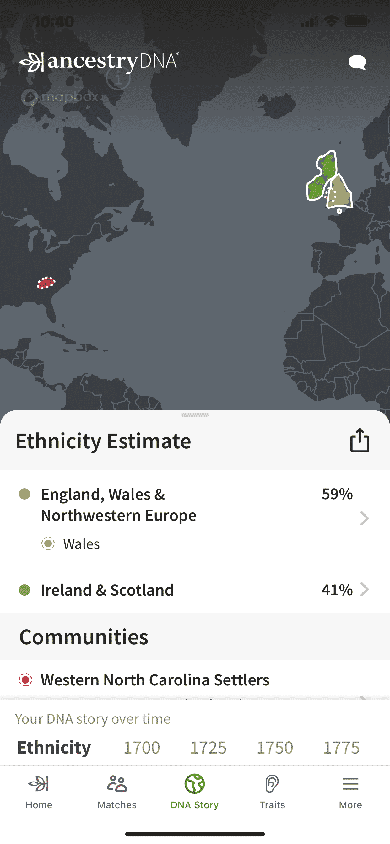 Example of AncestryDNA on an iPhone