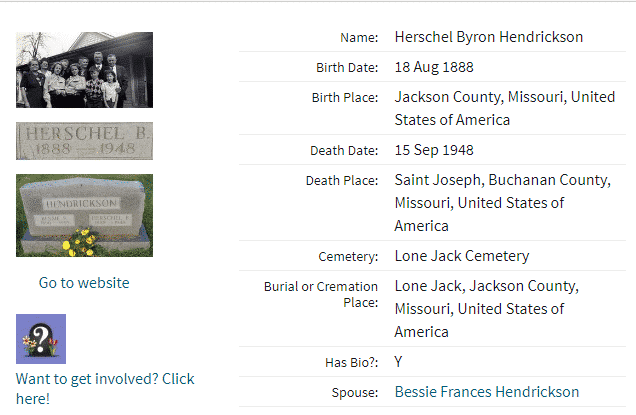 Example of FindaGrave.com search result details