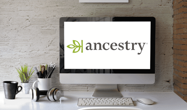 Ancestry.com logo on a desktop screen.
