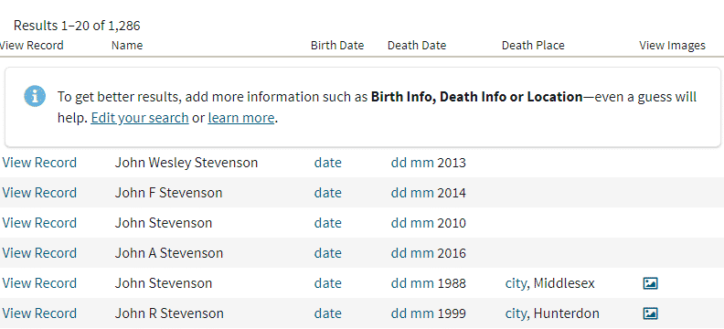 Search results in New Jersey death records on Ancestry.com, with only some information from the index