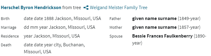 Example of a free Public Member Tree on Ancestry.com
